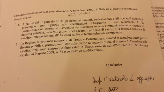 L'emendamento 'segreto' approvato ; obbligo vaccinale x insegnanti, educatori e Ata, personale sanitario, medici ed infermieri