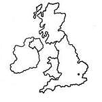 Cartina muta del Regno Unito (Inghilterra, Galles, Scozia, Irlanda)